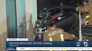 Driver rescued after crash