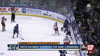 Tampa Bay Lightning forward Nikita Kucherov suspended for one game