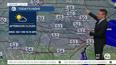 Metro Detroit Forecast: Nice day before a cold front swings through