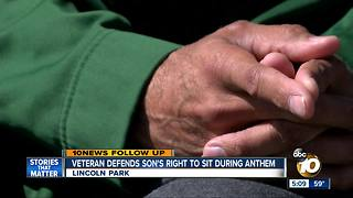 Veteran defends son's right to sit during national anthem - Video