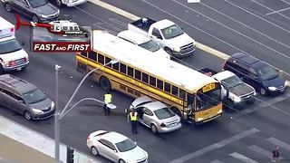 School bus involved in 3 car crash near Russell, Rainbow - Video