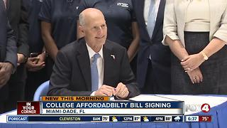 Florida governor signs college affordability bill - Video