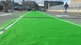 Bike path on Cleveland bridge gets makeover with unique substance - Video