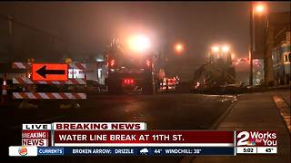 Water line break causing lane closures at 11th Street - Video