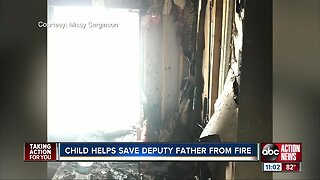 Child helps save father from fire