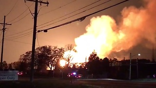 Fire Burns at Gas Main in Auburn Hills, Michigan - Video