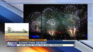 Preparing for Ford Fireworks in downtown Detroit