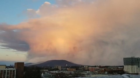 Beautiful Snow Shower Sweeps Over Mount Nittany at Sunset
