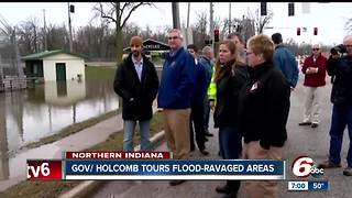 Governor Eric Holcomb tours flood damage in northern Indiana