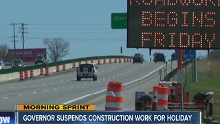 State suspends road construction through holiday weekend - Video