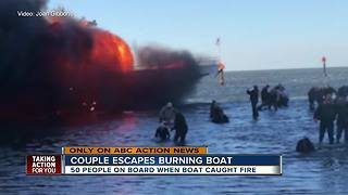 Couple aboard burning casino boat share their story of what happened - Video