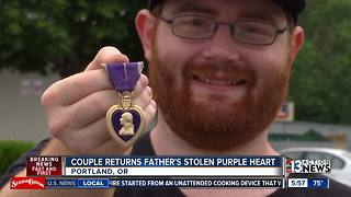 Couple returns man's Purple Heart - Video