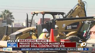 Construction worker injured at border - Video
