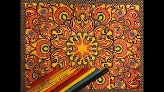FLOWER MANDALA PATTERN | Coloring book for adults | Coloring TimeLapse Video