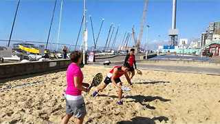 Japan Team Play Beach Tennis in Brighton After Rugby Match Win - Video