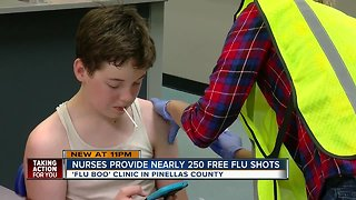 Clinic in Tampa Bay offers free flu shots to parents and children - Video