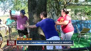 Installing Christmas lights in Seminole Heights - Video
