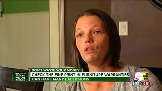 Don't Waste Your Money: Check fine print in furniture warranties - Video