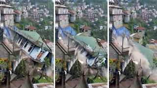 Heart-stopping moment two-story house collapses due to heavy rain in Indian hilly state - Video