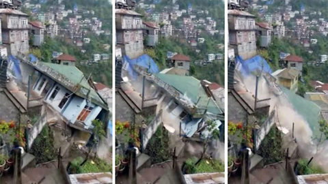 Heart-stopping moment two-story house collapses due to heavy rain in Indian hilly state