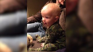 Cute Toddler Watches Superman For The First Time - Video