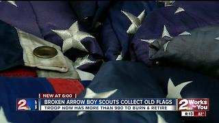 Broken Arrow boy scouts collect old flags
