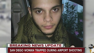 San Diego woman trapped during airport shooting - Video