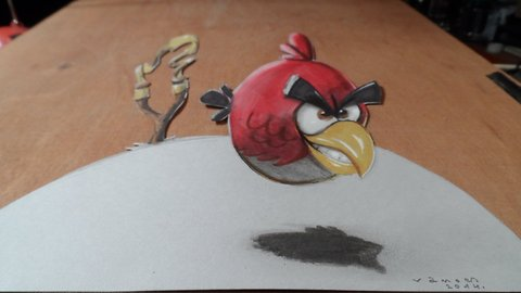 How to draw a 3D red bird from Angry Birds Space