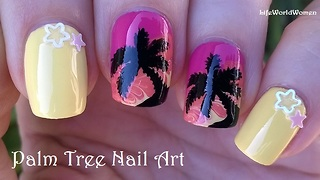 Palm tree nail art over toothpick drag marble design - Video