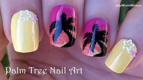Palm tree nail art over toothpick drag marble design