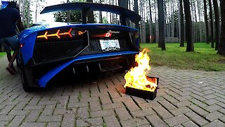Lamborghini owner lights a fire with his car exhaust, then has to act quickly