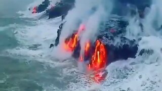 Pacific Ocean, Hawaii - Magma flowing into the water