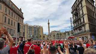 Hungarian Fans Chant Support for Poland in Marseille - Video