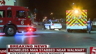 Homeless Man Suffers Stab Wound Near Walmart - Video
