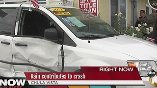 Rain contributes to crash at Chula Vista used car dealership - Video