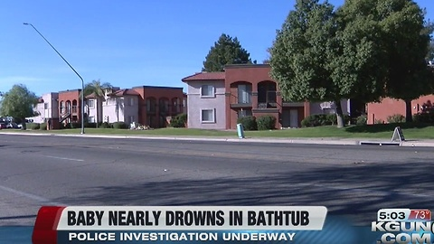 Near drowning reported afer baby found in bathtub