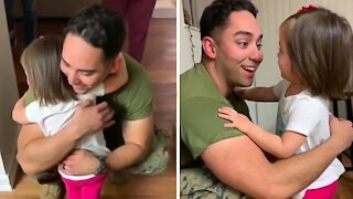 Military father welcomed home by his super sweet daughter