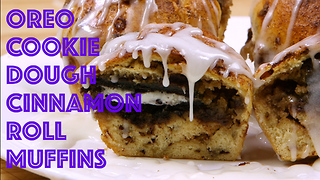 Oreo cookie dough cinnamon roll muffins