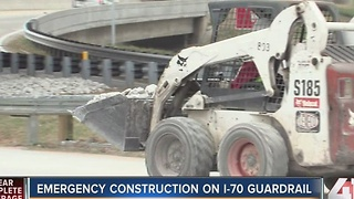 Emergency construction on I-70 guardrail - Video