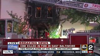 One dead in east Baltimore house fire - Video