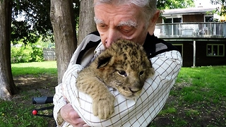 Decorated War Veteran's Emotional Cuddle With Lions And Cubs