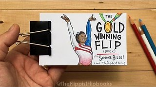 Cartoonist Creates Incredible Simone Biles-themed Flip Book - Video