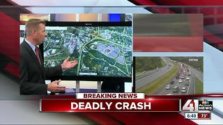 Fatal wreck on SB I-435 brings traffic by stadiums to a standstill - Video