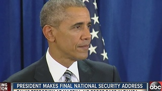 President Obama gave his final counterterrorism speech on Tuesday at Tampa's MacDill Air Force Base - Video