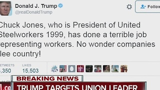 Trump takes aim at Carrier union chief on Twitter - Video