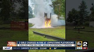 2 girls charged after fire damages playground in Joppatowne - Video