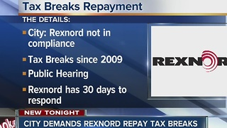 City demands Rexnord repay tax breaks - Video
