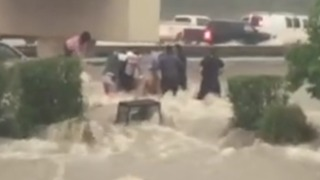Woman Rescued From Van Surrounded by Powerful Floodwaters in Conroe - Video