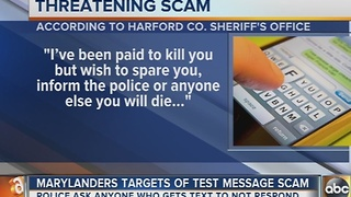 Text message scam with death threat targets cellphone users in Maryland - Video