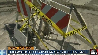 Clearwater Police patrolling near site of bus crash - Video